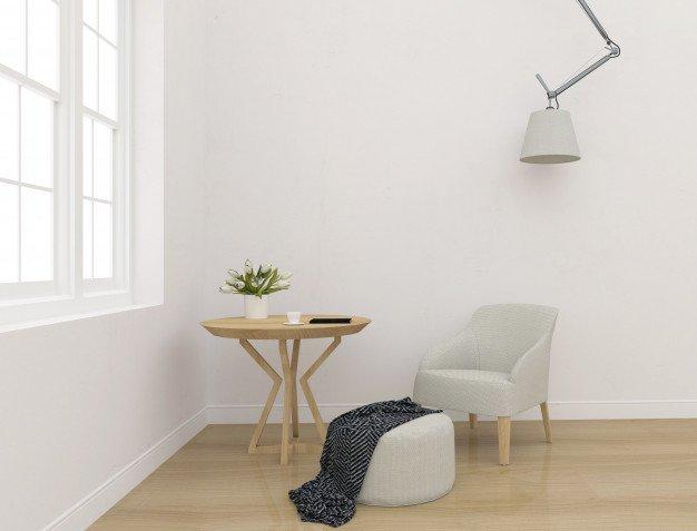 Nymalet stue med moderne møbler